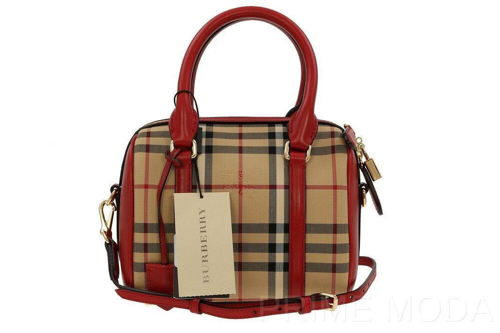 NEW BURBERRY SMALL HORSEFERRY CHECK RED LEATHER ALCHESTER ...