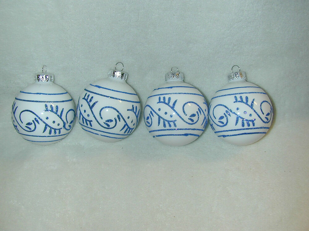 CHRISTMAS 65MM DELFT BLUE COLOR STYLE DECORATED GLASS BALL