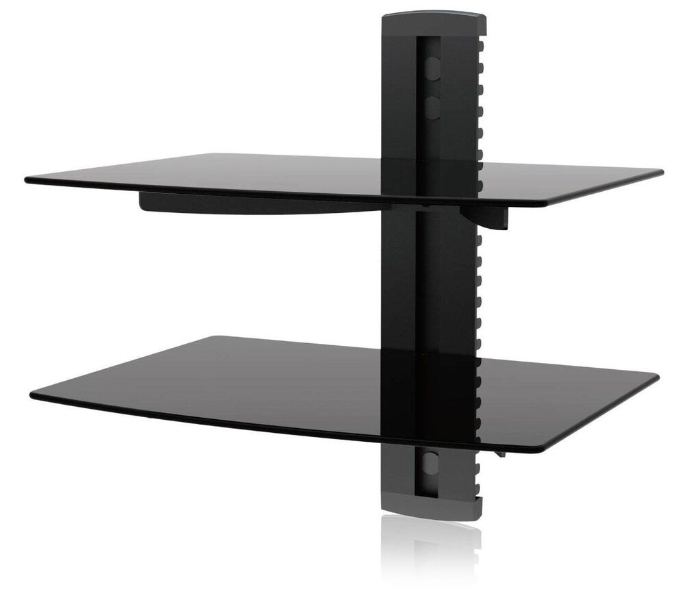 2 tier tv wall mount shelf dual glass under tv accessories dvr dvd flat fixed ebay. Black Bedroom Furniture Sets. Home Design Ideas