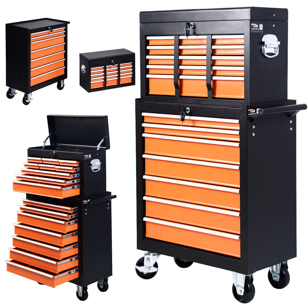 Portable 16 Drawers Tool Cart Top Chest Box Rolling