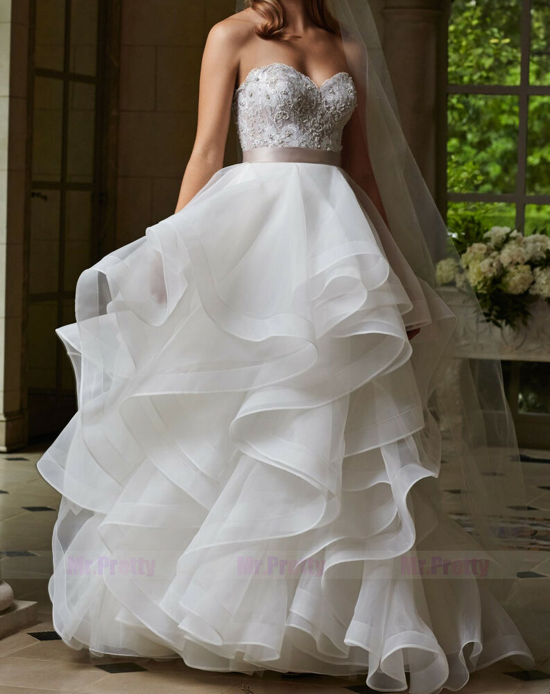 Ivory white organza ball gown long tulle skirts maxi for Wedding dresses with tulle skirts