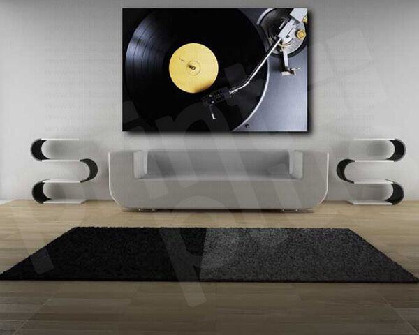 Vinyl record on a turntable art canvas poster print home for Vinyl record wall art