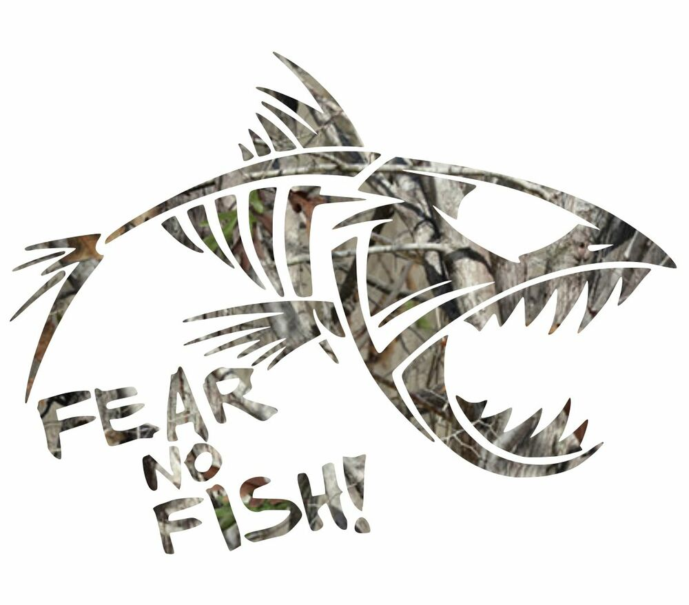 Camo forest camouflage fear no fish fishing sticker cool for Who sells fishing license near me