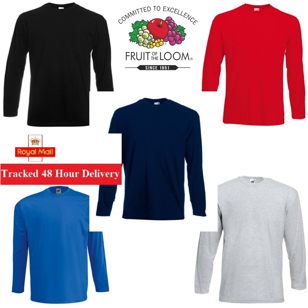 5 Pack Men 39 S Fruit Of The Loom Long Sleeve T Shirt Plain