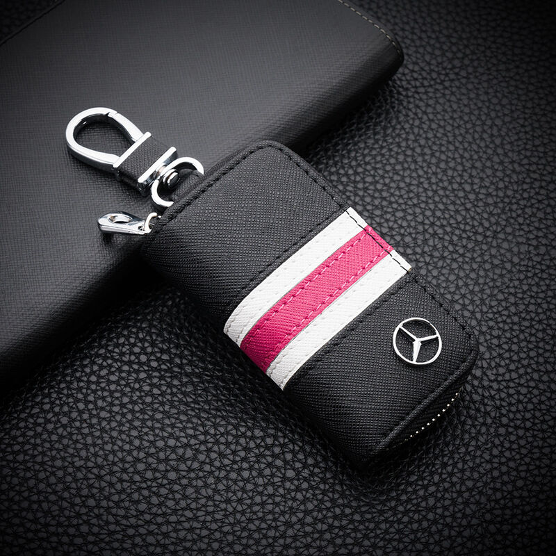 High grade leather car remote key chain holder case bag for Mercedes benz key pouch