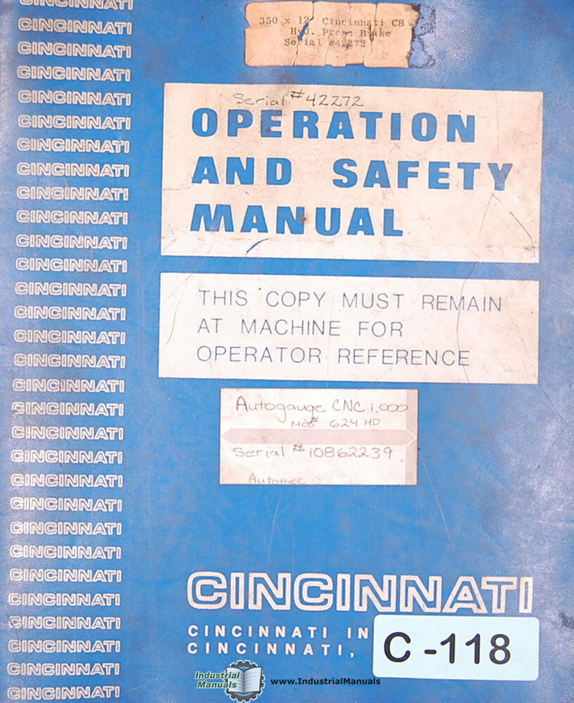 Autogauge CNC 1000, Automec Operations Programming and Electrical Manual  1994 | eBay