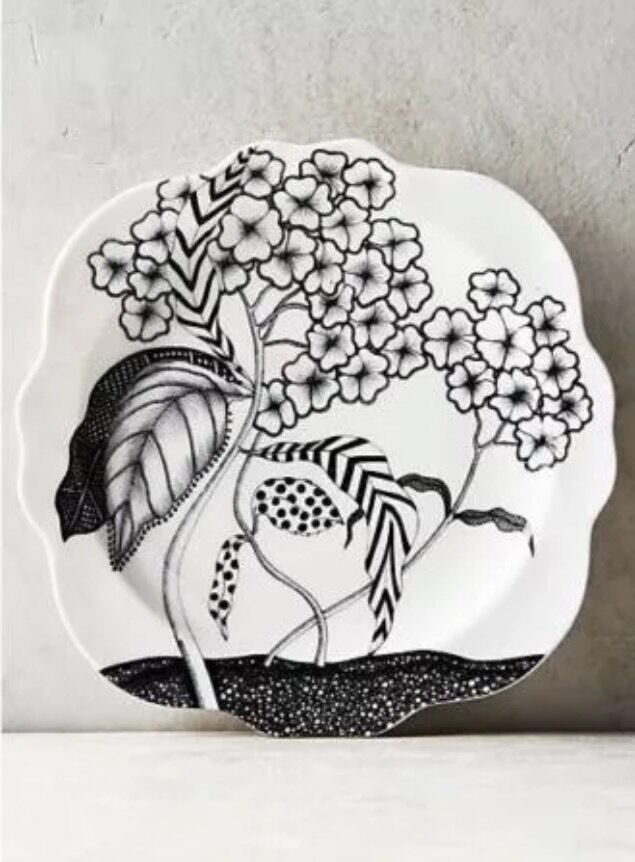 New anthropologie wild masquerade side plates by artist for Calligrapher canape plate anthropologie