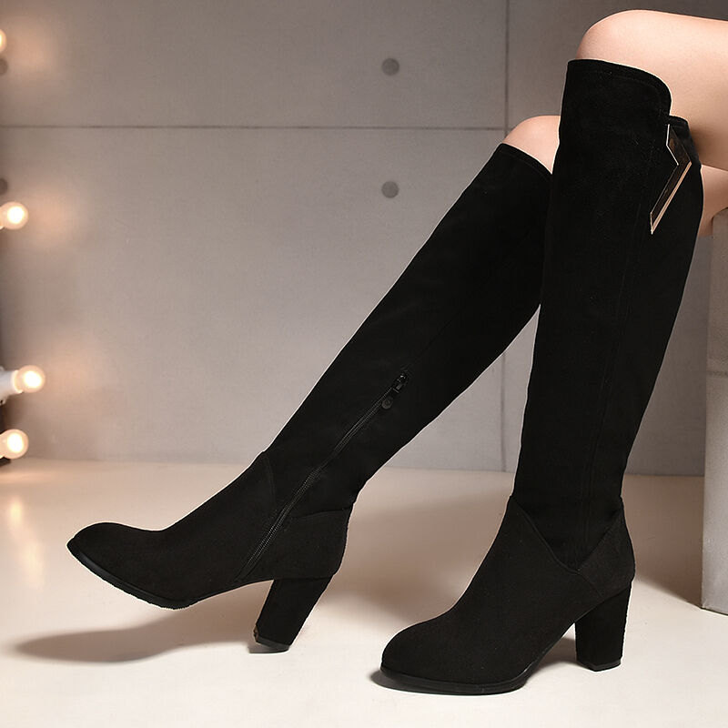 Womens Black Suede Fabric Round Toe Shoes Knee High Heel