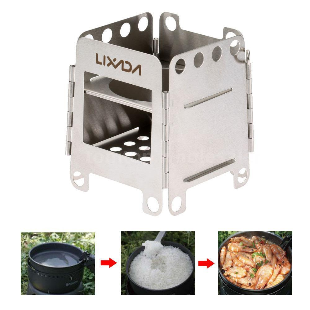 Folding wood stove pocket stove outdoor camping cooking for Outdoor wood cooking stove