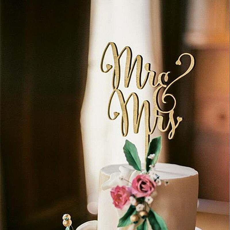 Mr And Mrs Rustic Wedding Cake Topper Laser Cut Wood Letters Wedding