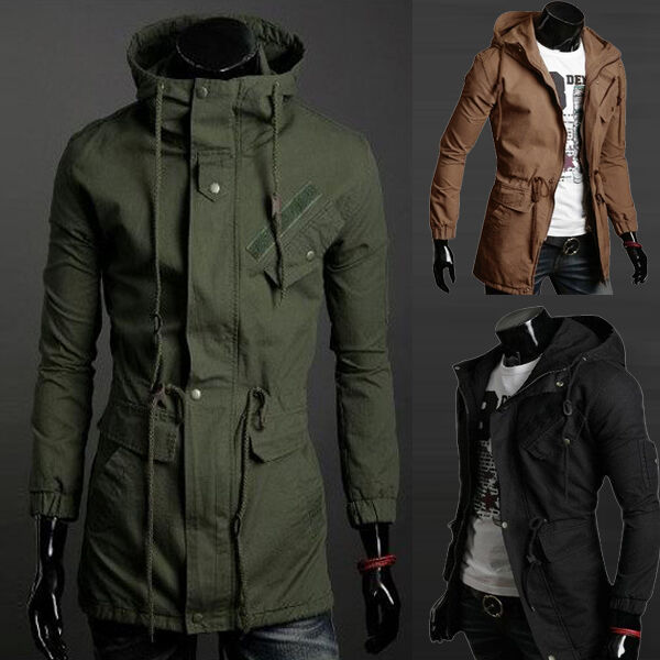 OVERCOAT Winter Men's Slim Hoodie S~XL Warm Parka Trench Long Coat ...