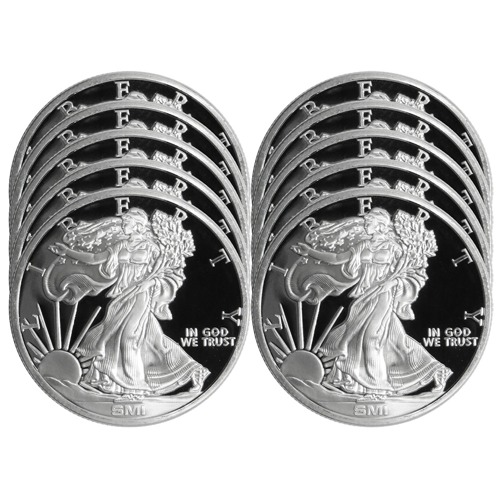 Lot Of 10 1 Troy Oz Sunshine Walking Liberty 999 Silver