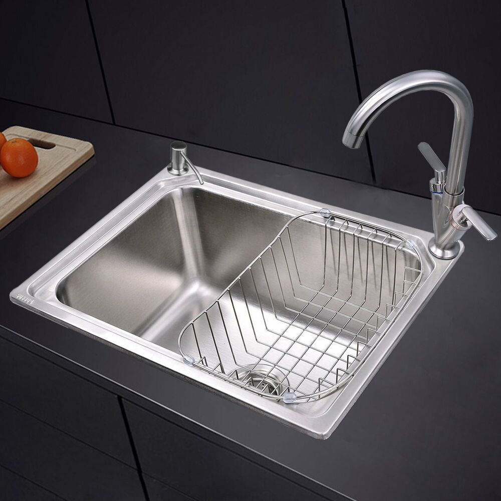 Stainless Steel 1.0 Single Bowl Square Kitchen Sink With