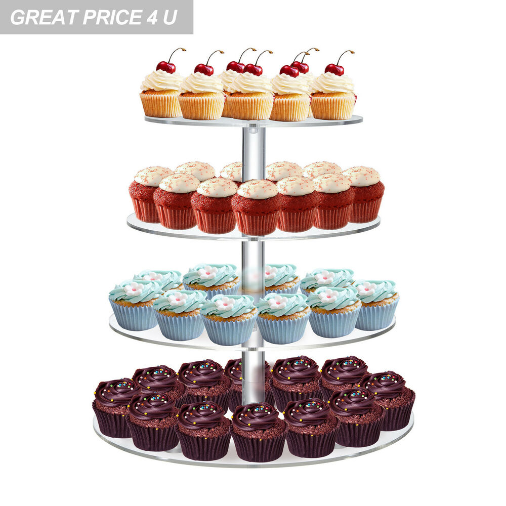 round cupcake wedding birthday cake stand clear acrylic display tower