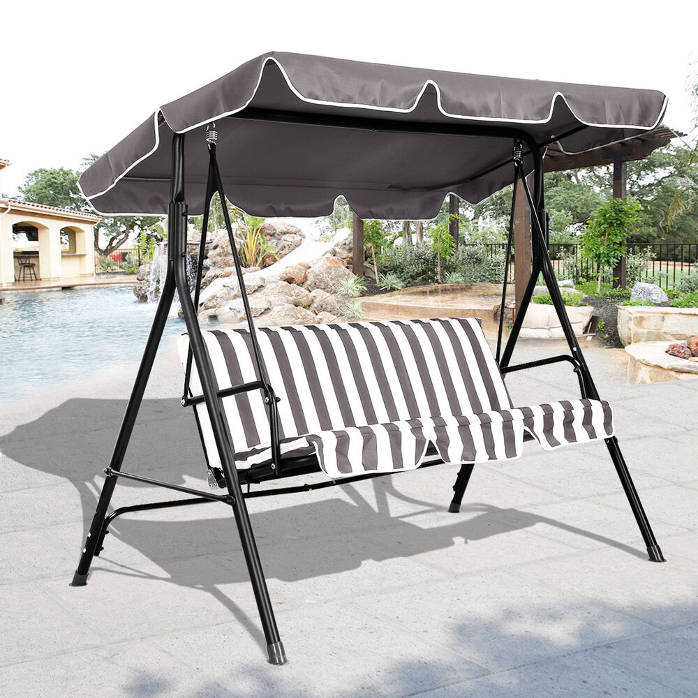 3 Person Swing Outdoor Patio Canopy Awning Yard Furniture