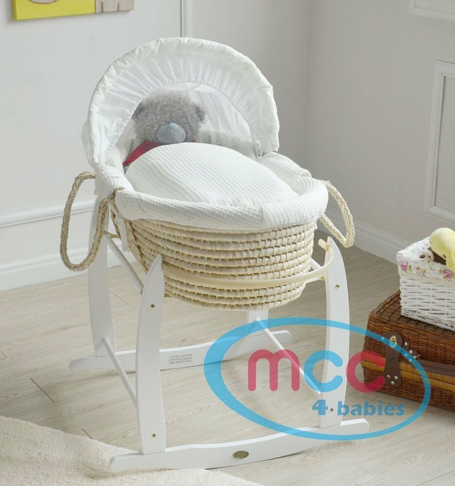 komplettset moses palmkorb baby korb weiss farbener bezug stubenwagen neu ebay. Black Bedroom Furniture Sets. Home Design Ideas