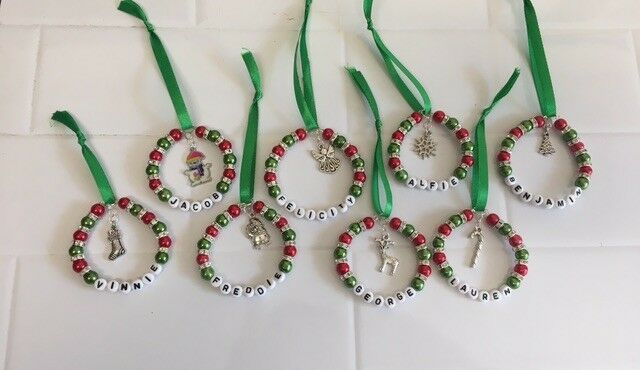 Personalised Beaded Christmas Tree Decoration Christmas