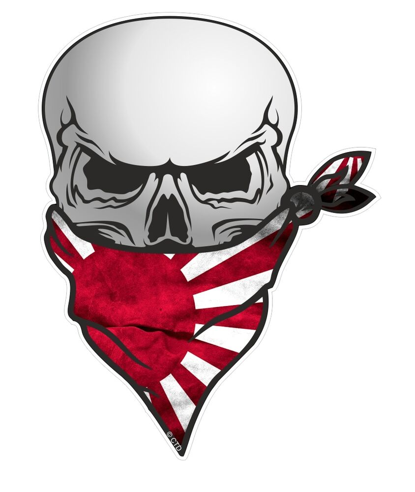 Biker skull with face bandana japan japanese rising sun flag car sticker decal ebay