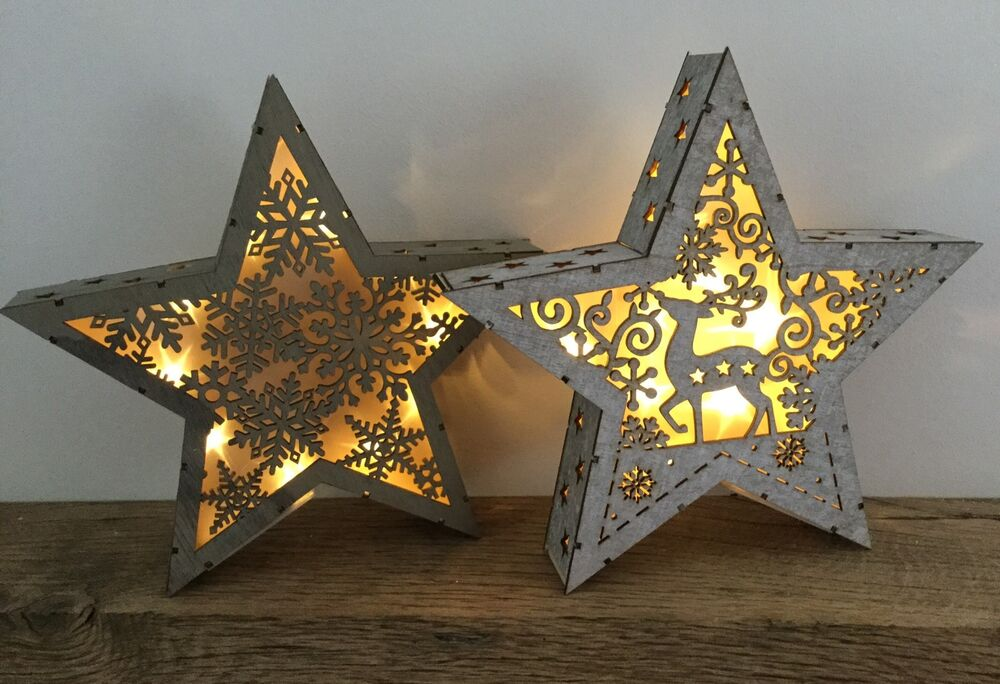 Starry Night Light Up Star Decoration Standing Mantel