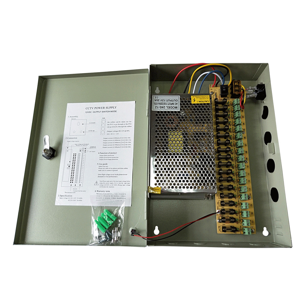 18ch Security Camera Power Supply Switch Box Dc 12v 20a