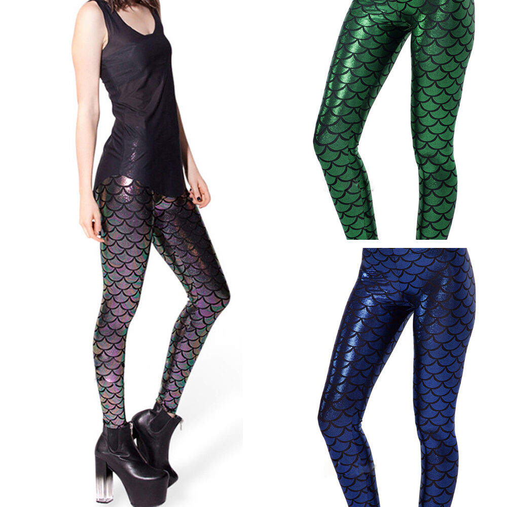 Fashion Sexy Womens Streach Mermaid Fish Scales Skinny ...