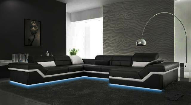 wohnlanschaft designer leder sofa couch garnitur ecksofa u form neu new york ii ebay. Black Bedroom Furniture Sets. Home Design Ideas
