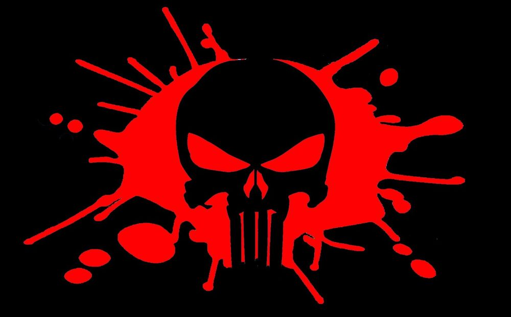 Punisher Decal - Red Splatter Outline Skull Sticker - 6 ...