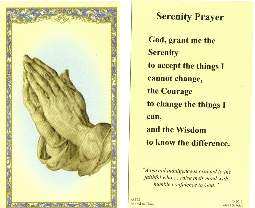 Serenity Prayer - Praying Hands - Laminated Holy Card