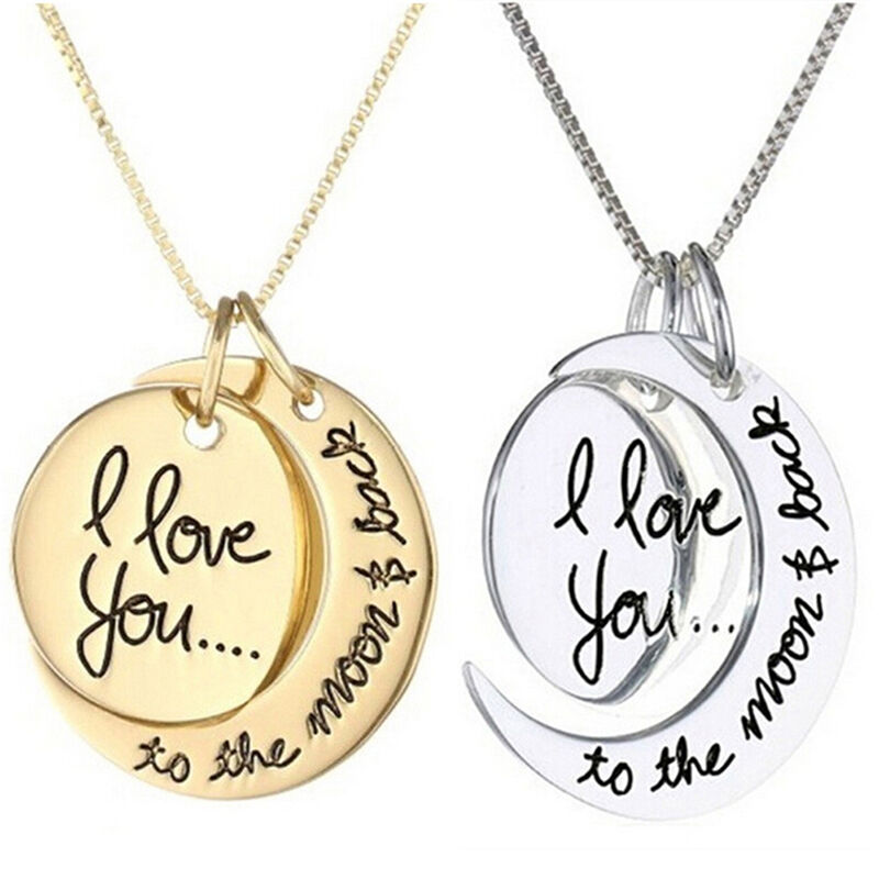 Charm Necklace I Love You To The Moon And Back Pendants ...