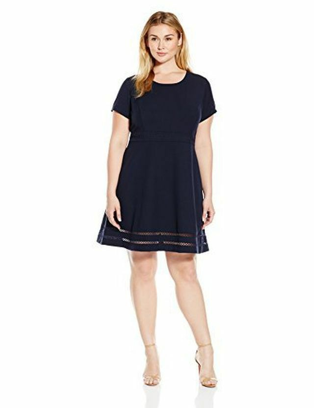 Lark amp ro womens modern stretch fit and flare dress asst plus sizes
