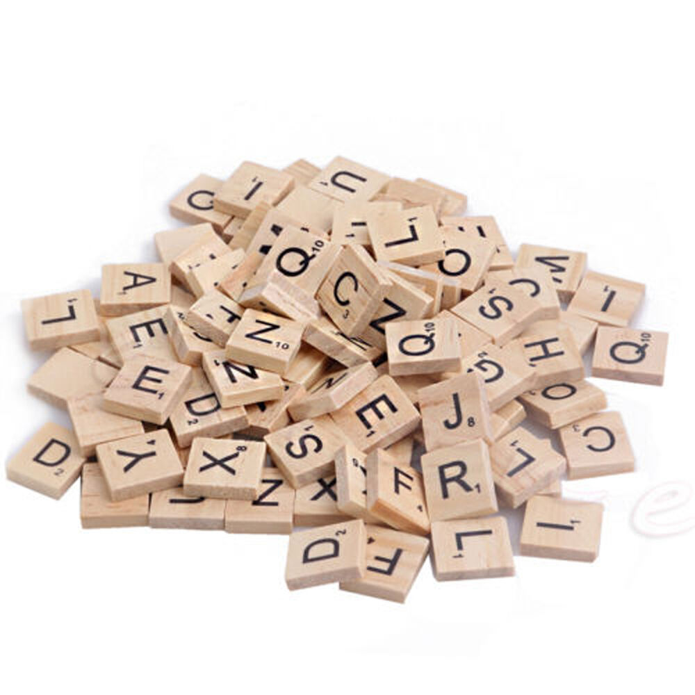 100x new wooden alphabet scrabble tiles black letters numbers board games crafts ebay. Black Bedroom Furniture Sets. Home Design Ideas