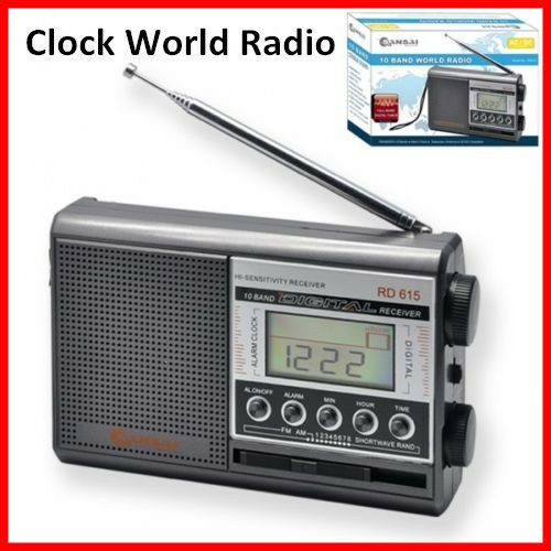 alarm clock world radio portable radio 10 band with digital display am fm ac dc ebay. Black Bedroom Furniture Sets. Home Design Ideas