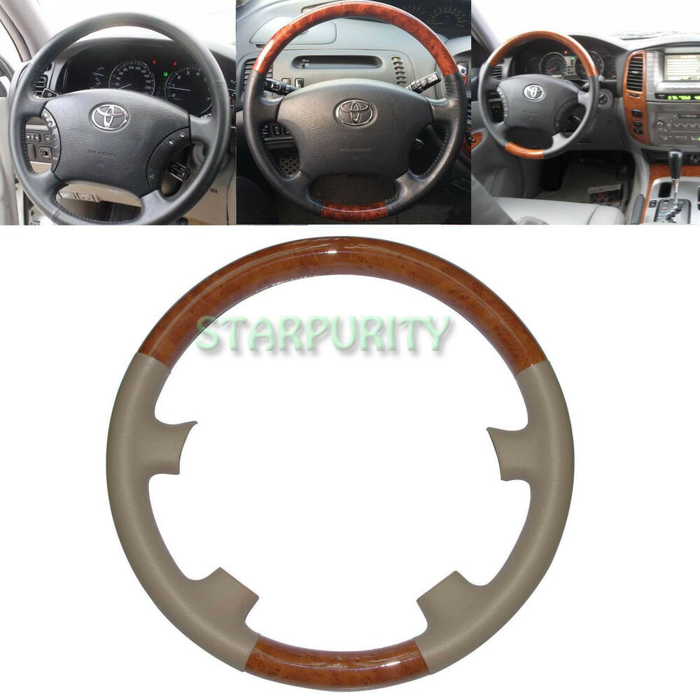 tan leather wood steering wheel cover 03 07 toyota land cruiser 4700 fj100 hiace ebay. Black Bedroom Furniture Sets. Home Design Ideas