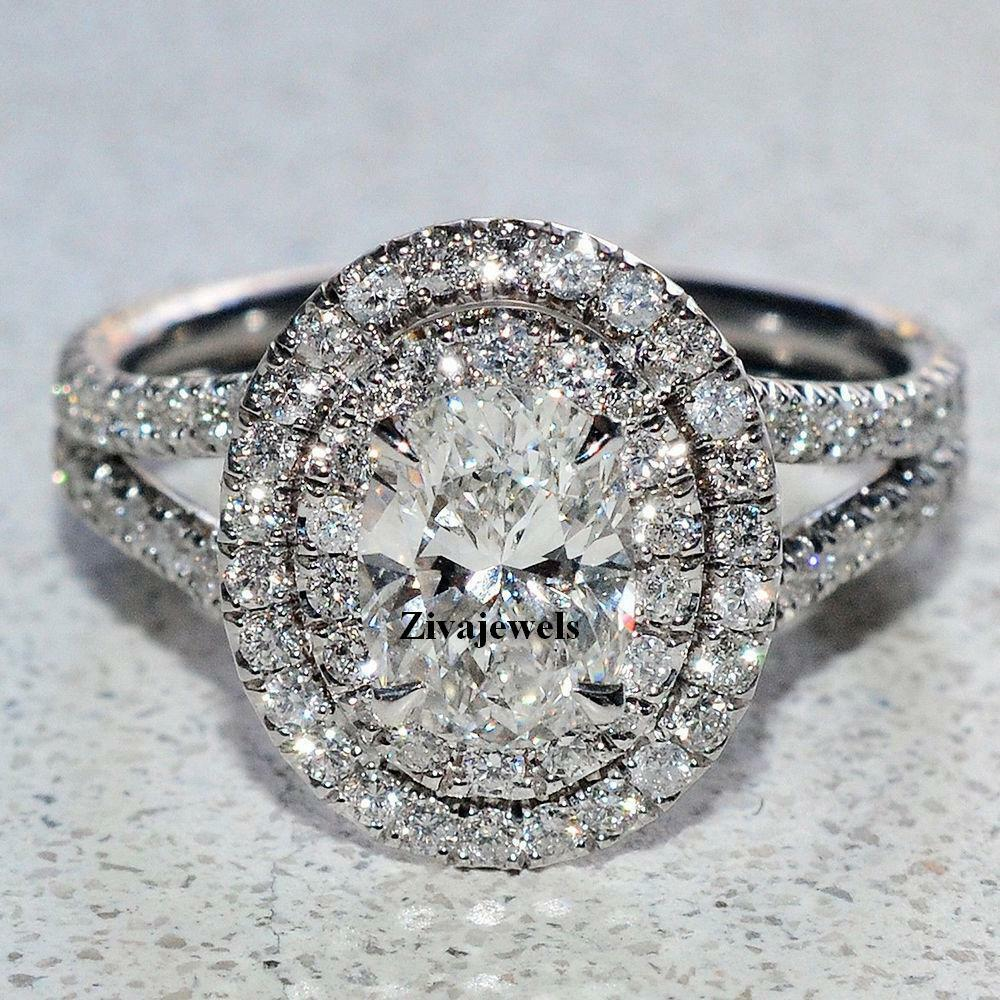 Certified 2.10 Ct Oval Cut Diamond Engagement Ring Double