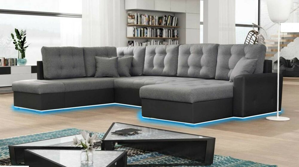 schlafsofa polster eck stoff textil leder sofa mit bettfunktion wohnlandschaft u ebay. Black Bedroom Furniture Sets. Home Design Ideas