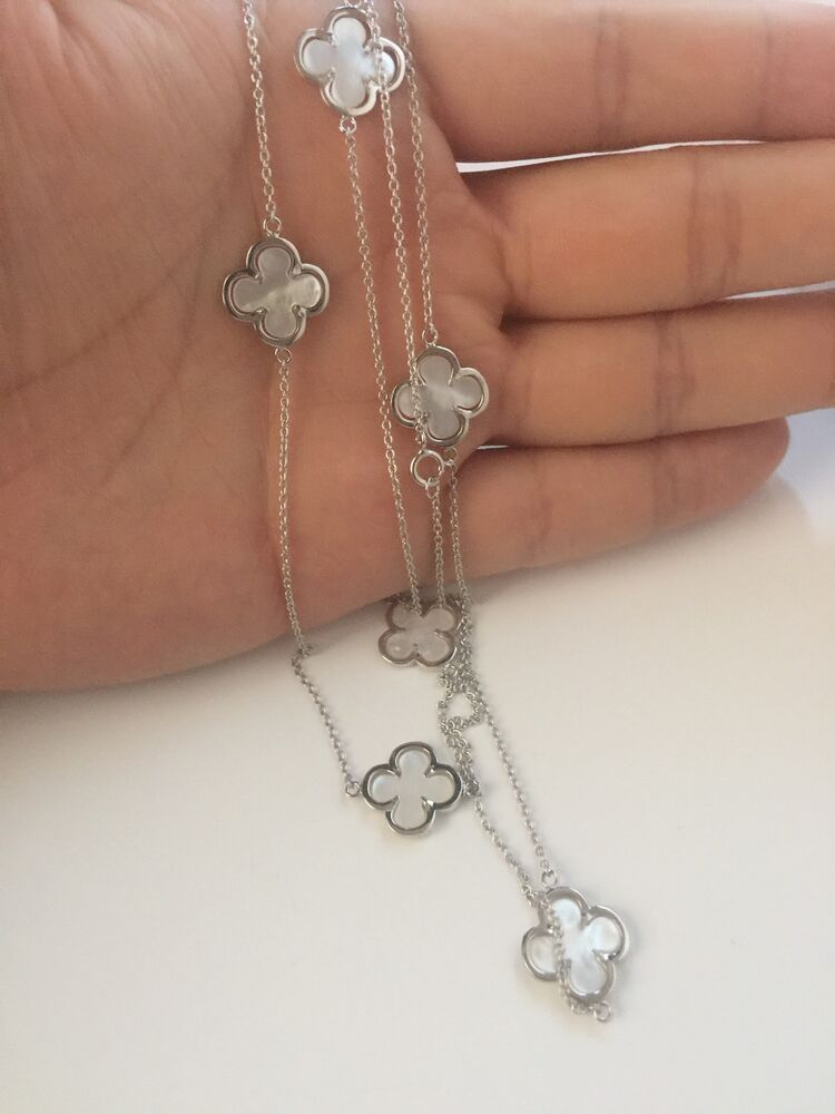 925 Sterling Silver Mother Of Pearl Clover Four Leaf