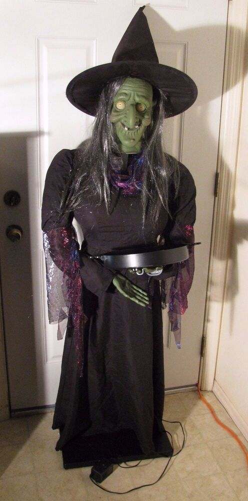Rare Gemmy 5 Life Size Animated Drop Head Witch Head Does