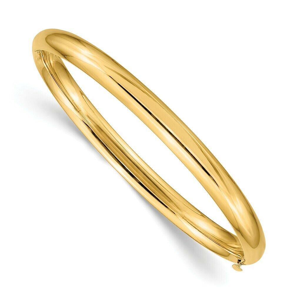 Genuine 14k Yellow Gold 5mm Hinged Childs Baby Bangle Bracelet 3 95 Gr 6 Inches