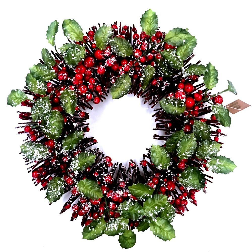 35cm christmas xmas artificial frosted red berry wreath for Artificial cranberries decoration