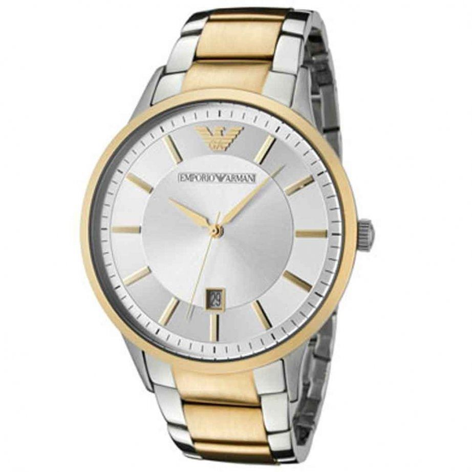 emporio armani mens two tone gold silver stainless steel