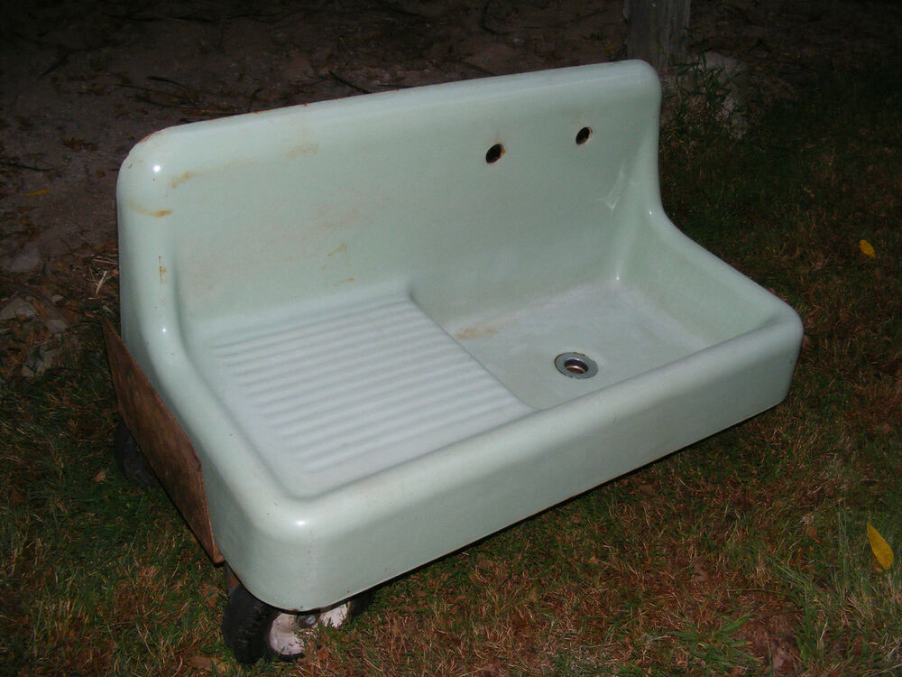 retro kitchen sink with drainboard vintage 1930s green farmhouse kitchen sink porcelain 7780
