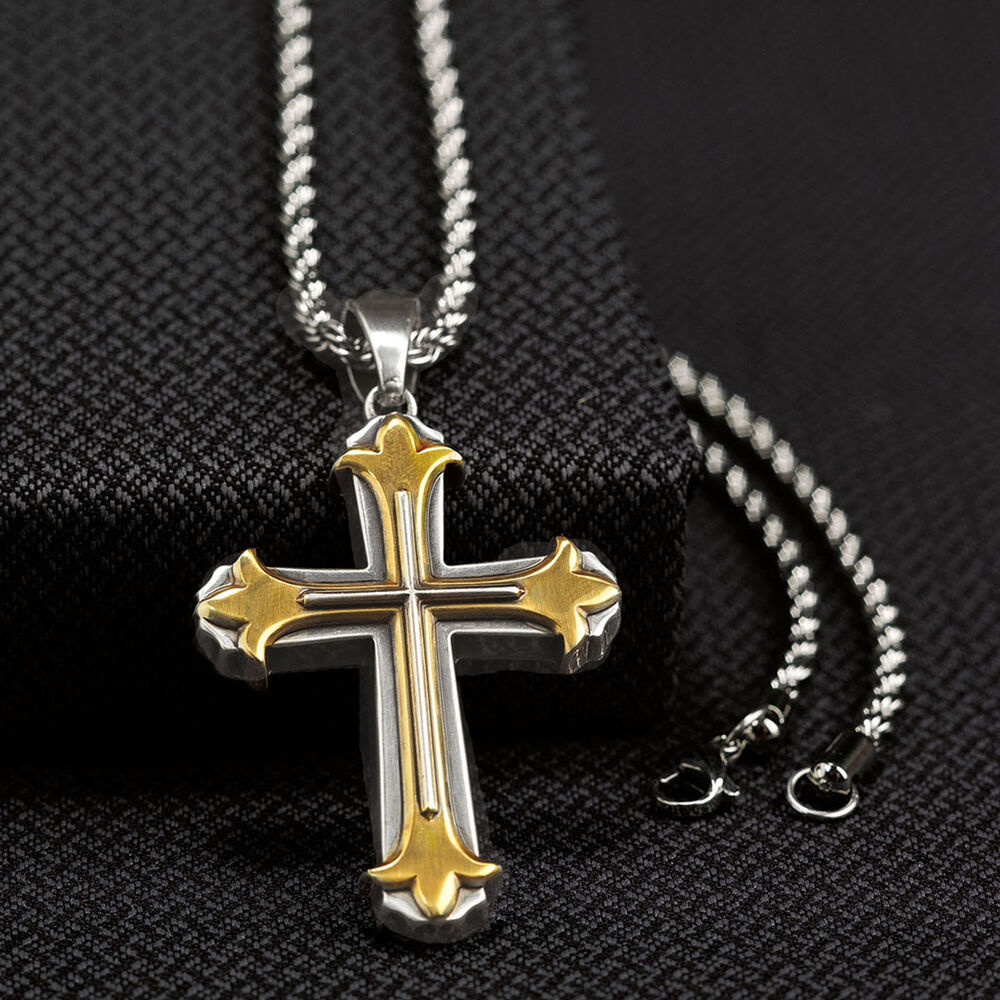 twister mens jewelry necklace cross 3d antique silver gold. Black Bedroom Furniture Sets. Home Design Ideas