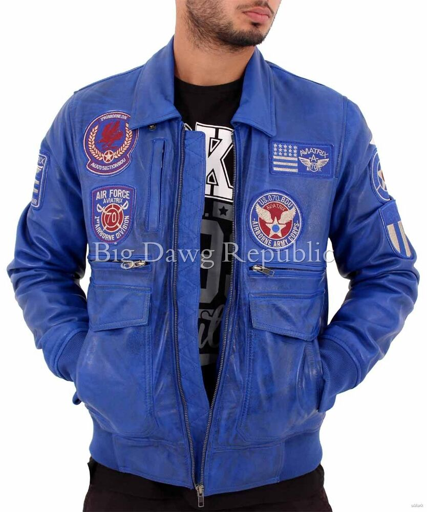 Mens Real Leather Blue Bomber Badge Air Force Pilot Flying Jacket