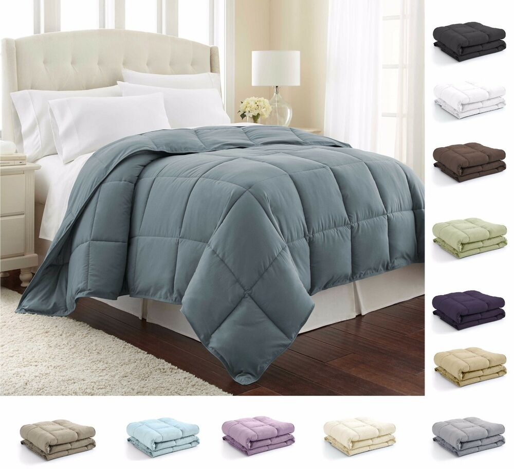 down alternative comforter reversible lightweight duvet insert with corner ties ebay. Black Bedroom Furniture Sets. Home Design Ideas