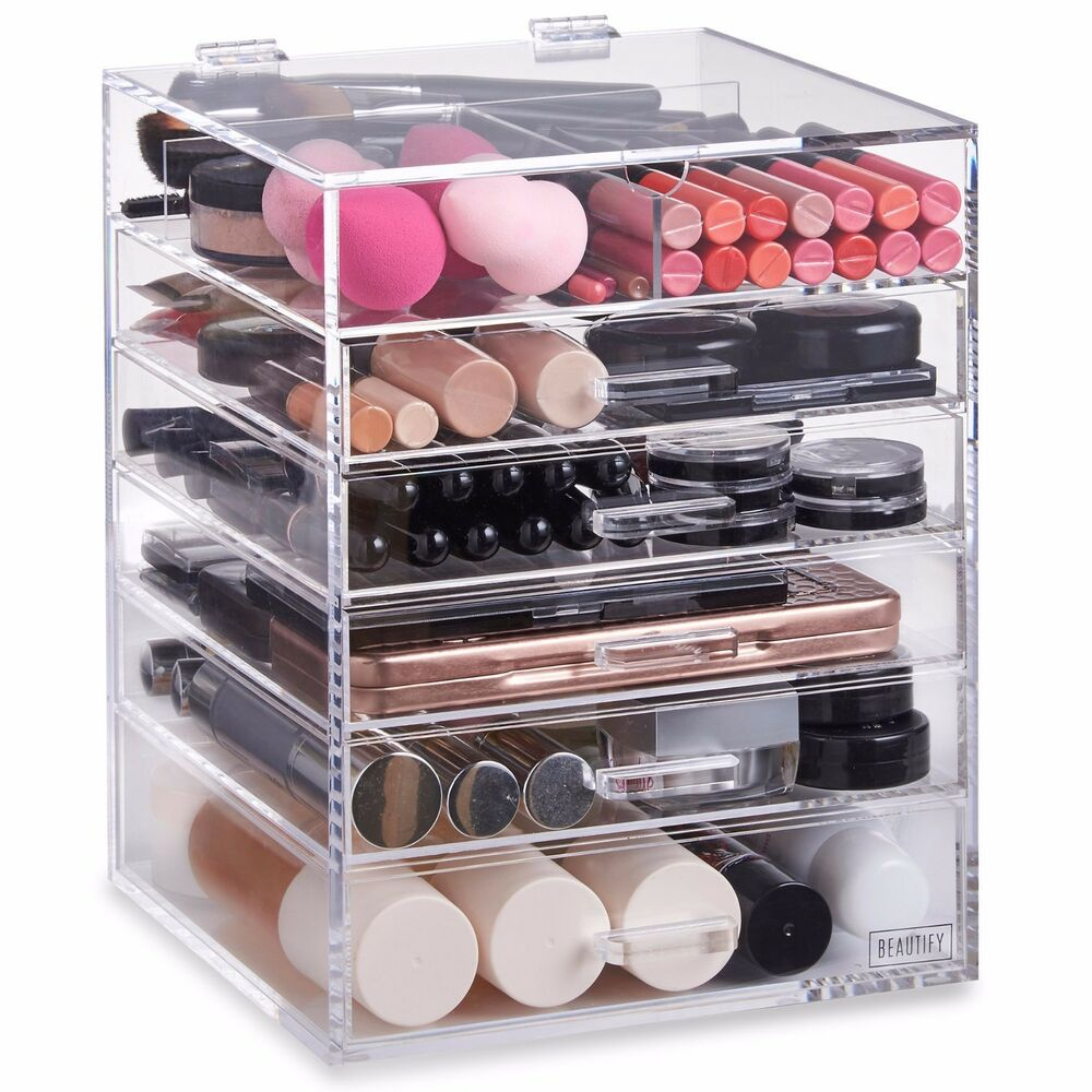 beautify large acrylic cosmetic makeup cube organizer. Black Bedroom Furniture Sets. Home Design Ideas