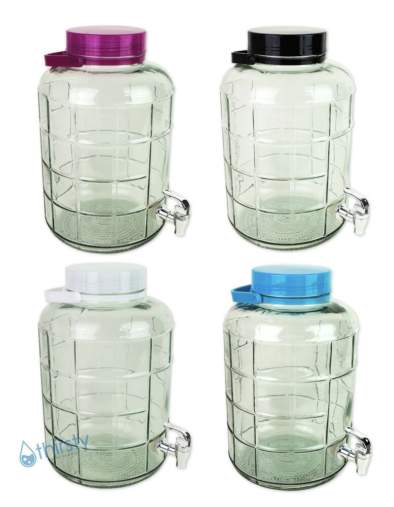 3 Gallon Glass Water Bottle Carboy Faucet Spigot Dispenser Canteen
