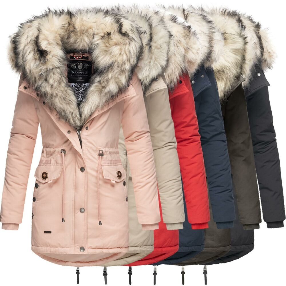 navahoo sweety 2in1 damen winter jacke parka mantel winterjacke warm fell b365 ebay. Black Bedroom Furniture Sets. Home Design Ideas