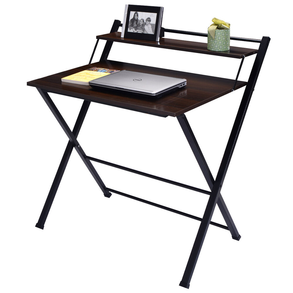 2 tier folding computer desk home office furniture workstation table study new ebay. Black Bedroom Furniture Sets. Home Design Ideas