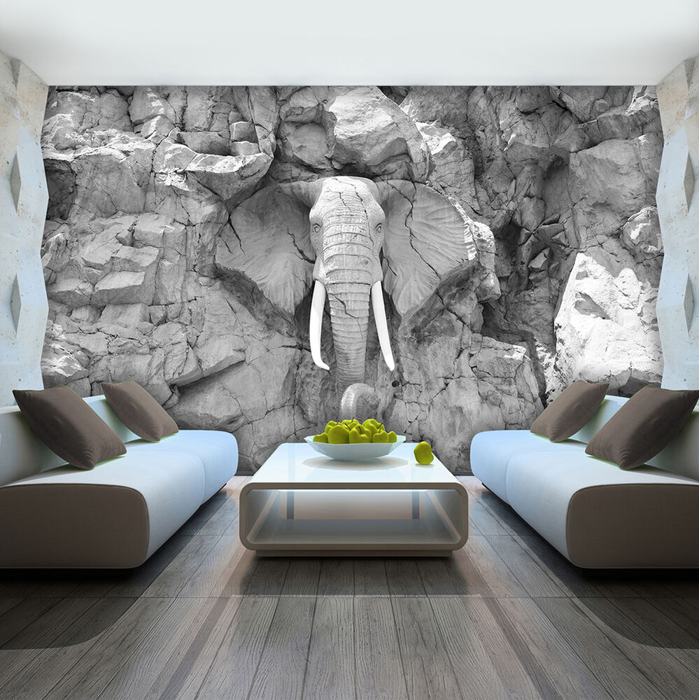 bild fototapete tapete foto bild elefant grau wand stein skulptur 10116 p4 ebay. Black Bedroom Furniture Sets. Home Design Ideas
