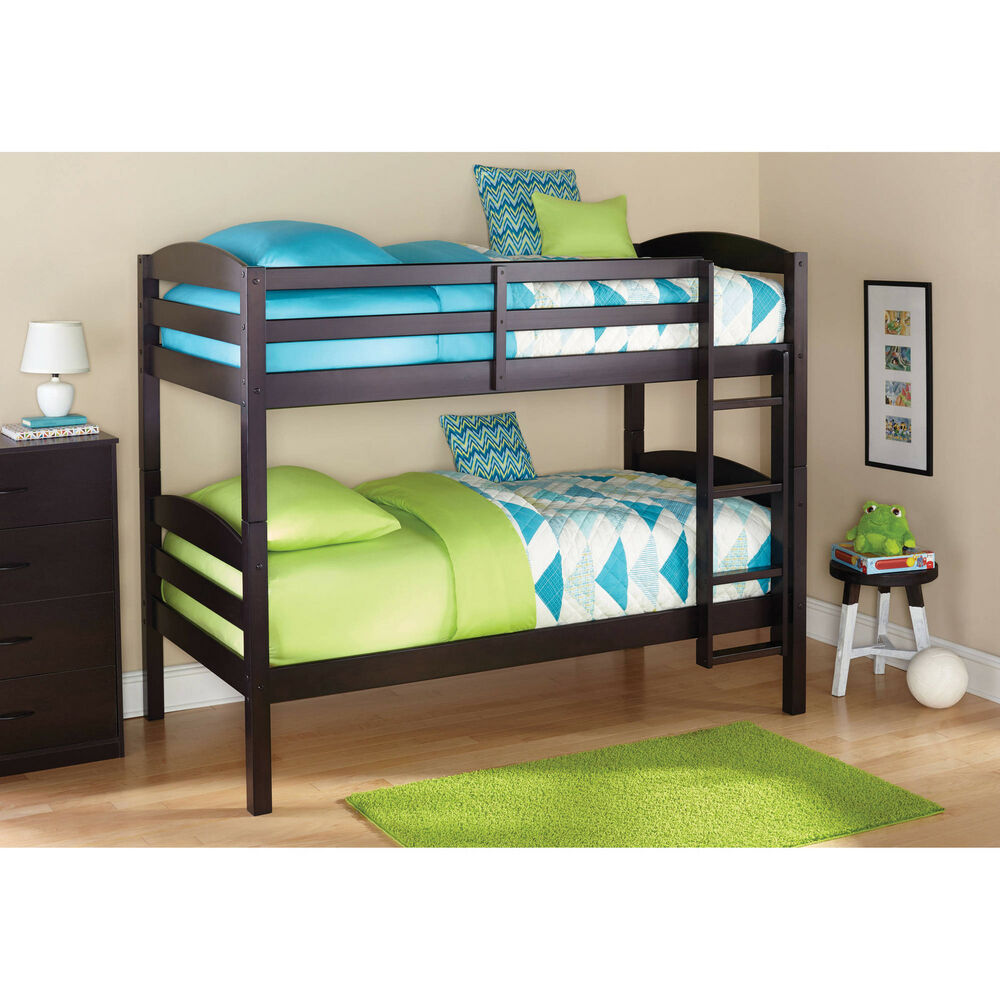 Details about bunk beds twin over twin kids furniture bedroom ladder wood convertible bunkbeds